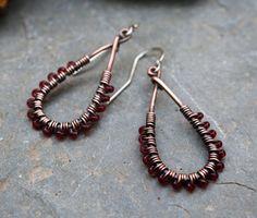 Copper Teardrop Earrings Oxidized Copper Seed by BesoDelCorazon
