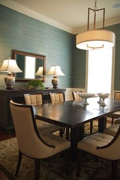 Transitional Dining Room - contemporary - dining room - charleston - by Sharon Payer Design, llc seagrass wall treatment Dining Room Wallpaper, Dining Room Walls, Dining Room Design, Of Wallpaper, Wallpaper Grasscloth, Seagrass Wallpaper, Grass Cloth Wallpaper, Dining Area, Office Wallpaper