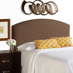 Humble + Haute Bingham Queen Size Dark Chocolate Curved Upholstered Headboard (Dark Chocolate), Brown