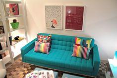 sala pequena sofa azul - Pesquisa Google