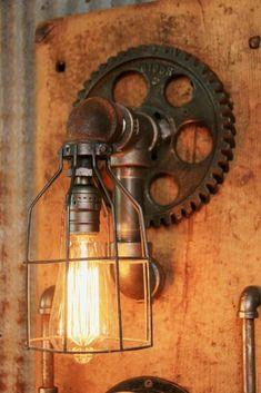 industrial Estilo Floor Lamp com iluminação Vintage Pipe Lighting, Rustic Lighting, Industrial Lighting, Cool Lighting, Antique Lighting, Lighting Ideas, Lighting Design, Lampe Steampunk, Lampe Tube
