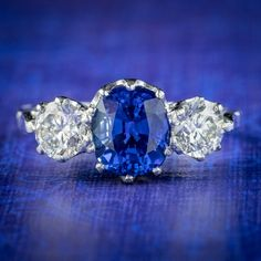 Edwardian Style Sapphire Diamond Trilogy Ring 1.75ct Sapphire All Gems, Edwardian Fashion, Sapphire Diamond, Deep Blue, Rings, Style, Swag, Ring, Jewelry Rings