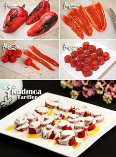 How to Make Roasted Red Pepper Salad with Yogurt? - Womanly Recipes - Delicious, Practical and Delicious Food Recipes Site - Roasted Red Pepper Salad with Yogurt - Crab Stuffed Avocado, Pepper Recipes, Cottage Cheese Salad, Salad Dishes, Roasted Red Peppers, Turkish Recipes, Easy Salads, Finger Foods, Gastronomia