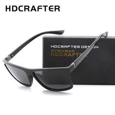 1aa14d0777 HDCRAFTER 2018 Sunglasses men Polarized Square sunglasses Brand Design  UV400 protection Shades Men glasses for driving