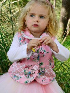Vests - Lamby Pink Painted Floral Baby Vest - Oobi.com.au