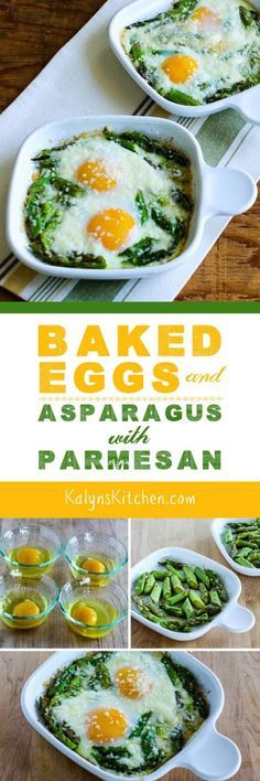 Baked Eggs and Asparagus with Parmesan (Video) Baked Eggs and Asparagus with Parmesan is a tasty breakfast idea that's low-carb, gluten-free, and South Beach Diet friendly. But most important, this is absolutely delicious; Low Carb Recipes, Diet Recipes, Cooking Recipes, Healthy Recipes, Brunch Recipes, Breakfast Recipes, Breakfast Casserole, Breakfast Ideas, Tuna Casserole