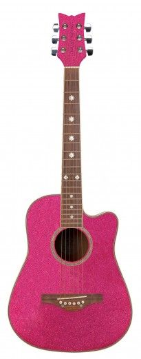 Wildwood Acoustic Short Scale - Atomic Pink • • • $189.95 •• • The Wildwood Acoustic is a short scale instrument designed specifically for younger girls with smaller frames, and for older girls looking for a 3/4 size or easily portable guitar. This beautiful guitar is lightweight, it sounds great, and because it's designed to perfectly fit girls, it's extremely comfortable to hold and to play! • • • Daisy Rock Girl Guitars® and DRG®