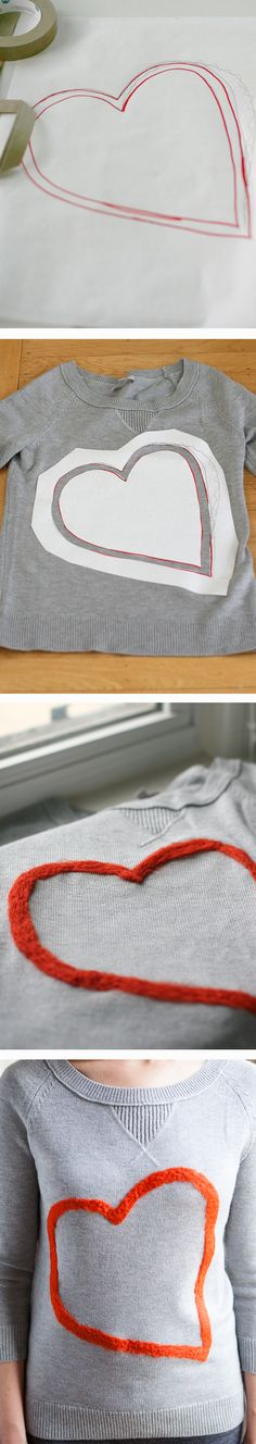 #DIY heart felted sweater via @yestohoboken