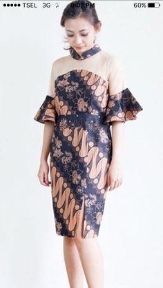 Blouse Batik, Batik Dress, Modest Dresses, Short Dresses, Batik Fashion, Women's Fashion, Kebaya Modern Dress, African Print Dresses, Simple Outfits