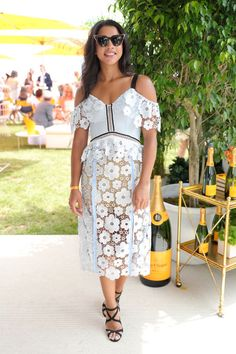 cold shoulder-hannahbronfman-lace-see through-daisy print-summer dress-party-shower-wedding-polo-