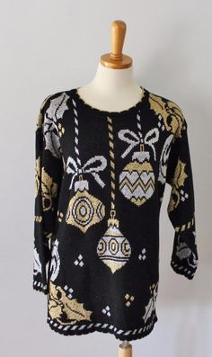 Vtg 80s Ugly Christmas Sweater Women men M jumper silver Gold Ornaments CS30 #HolidayTime #Crewneck