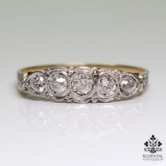 Antique Art Deco 18K Gold Diamond Ring