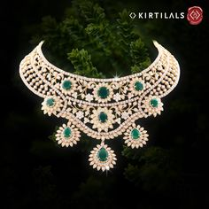 A special piece for a special day! Hug your neck with this intricate neckpiece crafted with pure diamonds and emeralds on your wedding day!