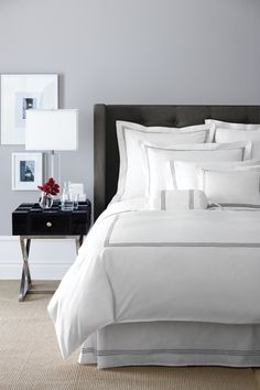 Bedroom Hotel Style Inspiration Guest Rooms 55 New Ideas Light Gray Bedroom, Bedroom Black, Dream Bedroom, Home Bedroom, Bedroom Decor, Bedroom Ideas, Master Bedroom, Grey Bedroom Walls, Black White And Grey Bedroom