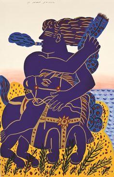Alekos Fassianos /Αλέκος Φασιανός, b. 1935 | Expressionist painter | Tutt'Art… Greek Paintings, Ancient Myths, Greek Design, France Art, Greek Art, 10 Picture, Artist Art, Mythology, Modern Art