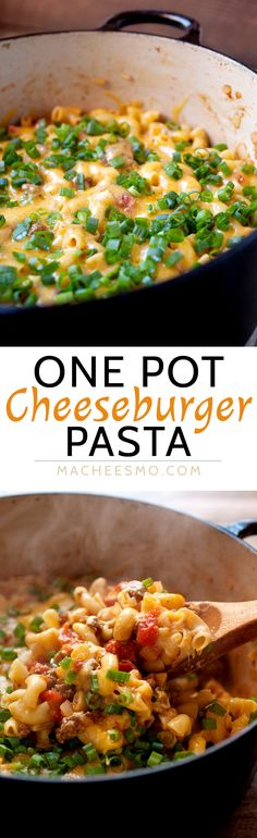 One Pot Cheeseburger Pasta: Everything cooked in one pot: beef, onions, and pasta! Some say it's impossible, but this is the way to make it happen! Plus, a nice little lid of cheddar cheese on top finishes off this pasta dish and makes it very worth your Pasta Recipes, Beef Recipes, Dinner Recipes, Cooking Recipes, Top Recipes, Family Recipes, Cheeseburger Pasta, One Pot Dinners, One Pot Pasta