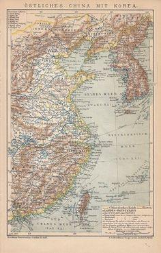 1894 Historische Landkarte / Antique Map * ÖSTLICHES CHINA / EAST CHINA KOREA