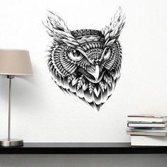 Owl Head Wall Sticker Decal – Ornate Bird Animal Art by BioWorkZ