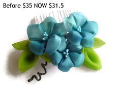 CLEARANCE /SALE Teal Green Morning Glory Flower by HandcraftKu