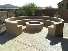 A custom Phoenix outdoor fire pit highlights many Valley patios. You'll find our Phoenix and Scottsdale outdoor fire pit designs attractive backyard elements. Fire Pit Party, Diy Fire Pit, Fire Pit Backyard, Concrete Garden Bench, Concrete Fire Pits, Garden Benches, Cement Garden, Outdoor Benches, Concrete Forms