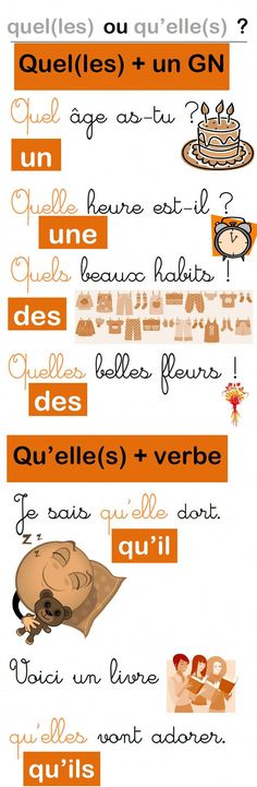 Une affiche pour les homophones quel(les) et qu'elle(s) French Teacher, French Class, French Lessons, Teaching French, French Tips, How To Speak French, Learn French, Les Homophones, French Course