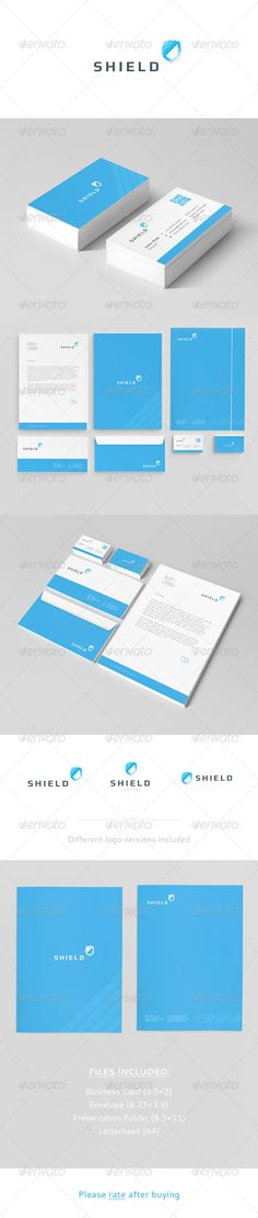 Shield Corporate Identity  #GraphicRiver        Shield Corporate Identity    Fully vector  AI and EPS files  Easy to edit  CMYK, Print ready  Help File included  Fonts  Play (download)  Cantarell (download)     Created: 10April13 GraphicsFilesIncluded: VectorEPS #AIIllustrator Layered: Yes MinimumAdobeCSVersion: CS Tags: blue #business #cid #clean #company #corporate #envelope #identity #letterhead #logo #modern #shield #sleak #stationery