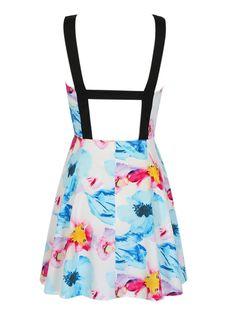 Multicolor Floral Print Strappy Back Skater Dress   Choies