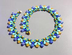 Tutorial -Necklace Santana- Ginko, Paisley, Tila, Half Tila, O beads, and seed beads O Beads, Seed Beads, Beaded Necklace Patterns, Necklace Designs, Beading Tutorials, Beading Patterns, Indigo, Paisley, Unique Necklaces