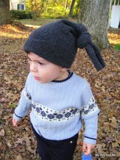 Easy to make hat from sleeve of old felted jumper.