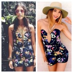 LF Angel Biba Floral Playsuit Lovely romper with a sweetheart neckline. The cups are lightly padded and stay in place due to a thin rubber grip around the top. Also comes with bra style straps you can attach or remove anytime. See last photo. This is a AU size 10 which is a US size 6. LF Pants Jumpsuits & Rompers