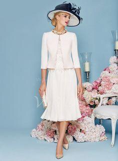 Kleider für die Brautmutter - $122.00 - A-Linie/Princess-Linie U-Ausschnitt Knielang Chiffon Kleid für die Brautmutter mit Spitze (0085095823)