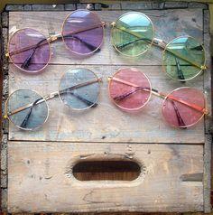 Oversized Round Sunglasses Vintage Pastel Hippie Circle Glasses - Janis