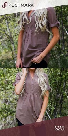 Boutique Taupe Woven Peasant Blouse S New without tags Tops Blouses