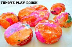 """Tie-Dye"" Playdough (from Blog Me Mom)"