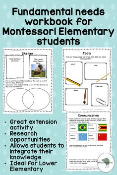 This work book is designed for a Montessori Elementary and works in tandem with the Third Great Montessori Story.  Using the Fundamental need cards children can work independently in this work book to connect knowledge from the card with their own knowledge.  This book is a great way of helping children apply, imagine and connect knowledge as opposed to just 'memorising' the cards. It will help you see whether the students can get the deeper concepts!