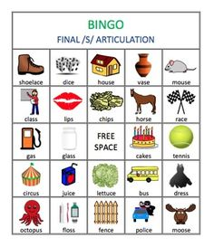 Bingo is a great activity for working on articulation! This packet consists of 4 bingo games: 1 for initial /s/ articulation, 1 for medial /s/ articulation, 1 for final /s/ articulation, and 1 for /s/ blends in all positions.Each bingo game features 4 bingo cards and 30 call cards, each containing a word and picture for the targeted sound position.