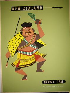 Qantas New Zealand poster. nothing like a good bit of ole kiwiana :-) x Vintage Travel Posters, Vintage Airline, Maori Designs, Air New Zealand, Art Calendar, Airline Travel, Maori Art, Kiwiana, Poster Prints