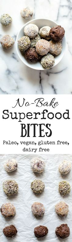 Just 7 superfood ingredients and a food processor is that stands between you and these No-Bake Superfood Bites! Loaded with all kinds of good-for-you stuff, these bites are easy, naturally-sweetened and make for the perfect healthy dessert or snack you can throw together anytime!