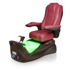 Infinity pedi-spa shown in Burgundy Ultraleather cushion, Mocha base, Aurora LED Color-Changing bowl (shown in green)
