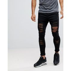 SikSilk Muscle Fit Jeans In Black With Distressing ($82) ❤ liked on Polyvore featuring men's fashion, men's clothing, men's jeans, black, mens ripped skinny jeans, american eagle mens jeans, mens torn jeans, american eagle mens skinny jeans and mens distressed jeans
