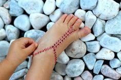 RED Rhinestones Baby Barefoot SandalsGlam Baby Foot by Kreacje