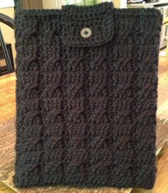iPad Cozy, Cover, Sleeve Black Crochet with Cables