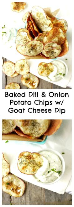 These homemade baked potato chips are crispy, crunchy perfection and taste amazing when dipped in the low-fat goat cheese dipping sauce #superbowlpartyfood #healthyappetizer