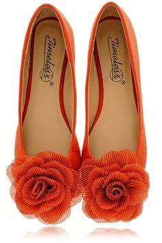 ROSEBUD Orange Suede Ballerinas