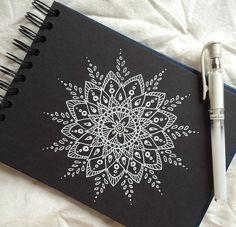 White Mandala sketch on Black Canvas Mandala Doodle, Mandala Sketch, Mandala Drawing, Doodle Art, Mandala On Canvas, White Mandala Tattoo, Art Sketches, Art Drawings, Mandela Art