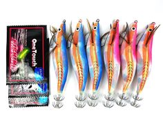 6pcs Size3.5 Squid Jigs 13cm 25g *** Details can be found by clicking on the image.