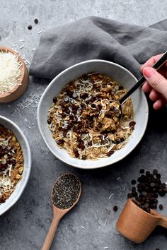 midnight mocha oatmeal bowls – from nourishing superfood bowls