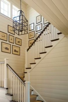 Love this banner and first one on post (original site); would wainscotting or plank boards painted white (or other color) keep stairwell looking nicer with kids, than drywall?