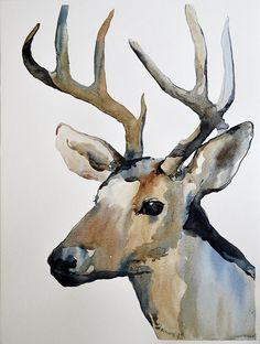Original Watercolor Painting Deer Reindeer by AlisaAdamsoneArt