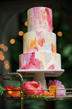 Beautifully painted cake full of texture and color by Nutmeg Cake Design - Hochzeitstorten Hochzeitstorte Naked Wedding Cake, Summer Wedding Cakes, Painted Wedding Cake, Pretty Cakes, Beautiful Cakes, Amazing Cakes, Wedding Cake Designs, Wedding Cake Toppers, Wedding Cake Recipes